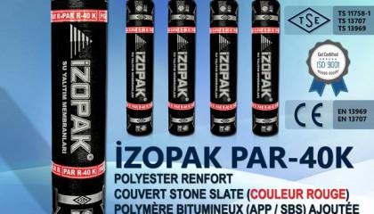İzopak PAR-40K Polyester Renfort Couvert Stone Slate (Couleur Rouge)