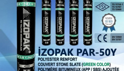 İzopak PAR-50Y Polyester Renfort Couvert Stone Slate (Green Color)